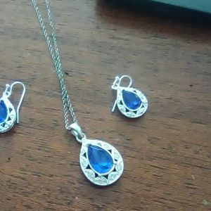 Silver and blue sapphire  necklace and earrings  s